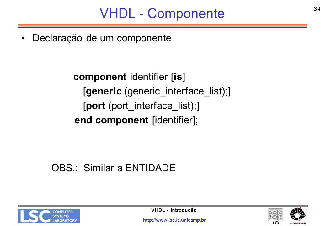 VHDL - Componente OBS.: Similar a ENTIDADE Declaração de um componente