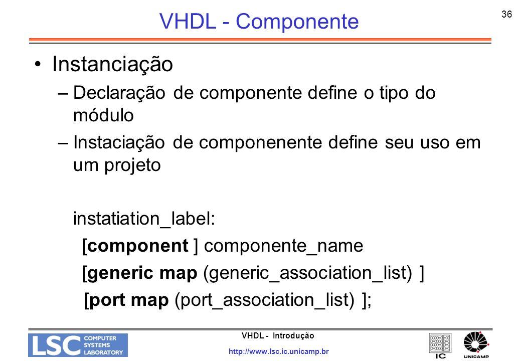 VHDL - Componente Instanciação