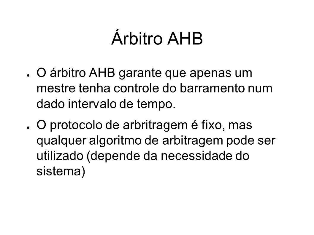 Árbitro AHB O árbitro AHB garante que apenas um mestre tenha controle do barramento num dado intervalo de tempo.