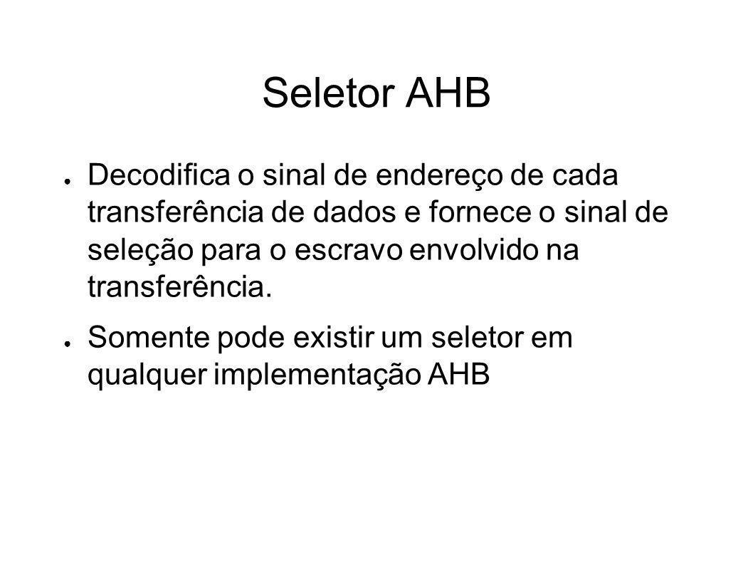 Seletor AHB Decodifica o sinal de endereço de cada transferência de dados e fornece o sinal de seleção para o escravo envolvido na transferência.