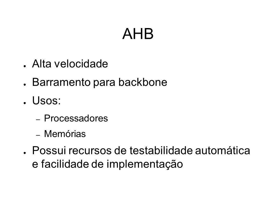 AHB Alta velocidade Barramento para backbone Usos: