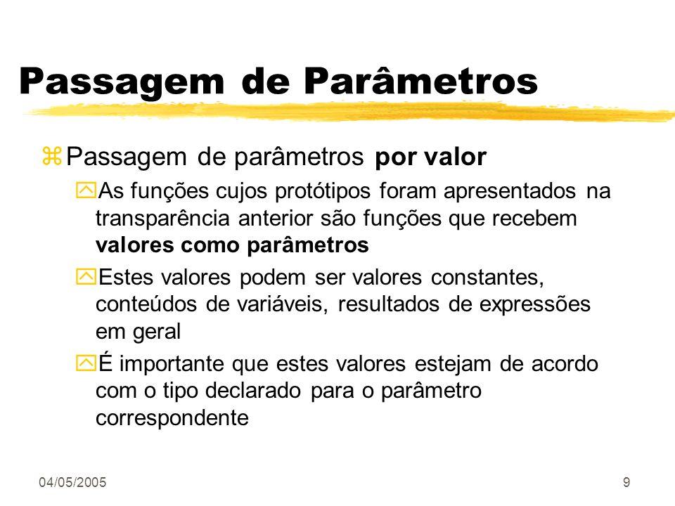 Passagem de Parâmetros