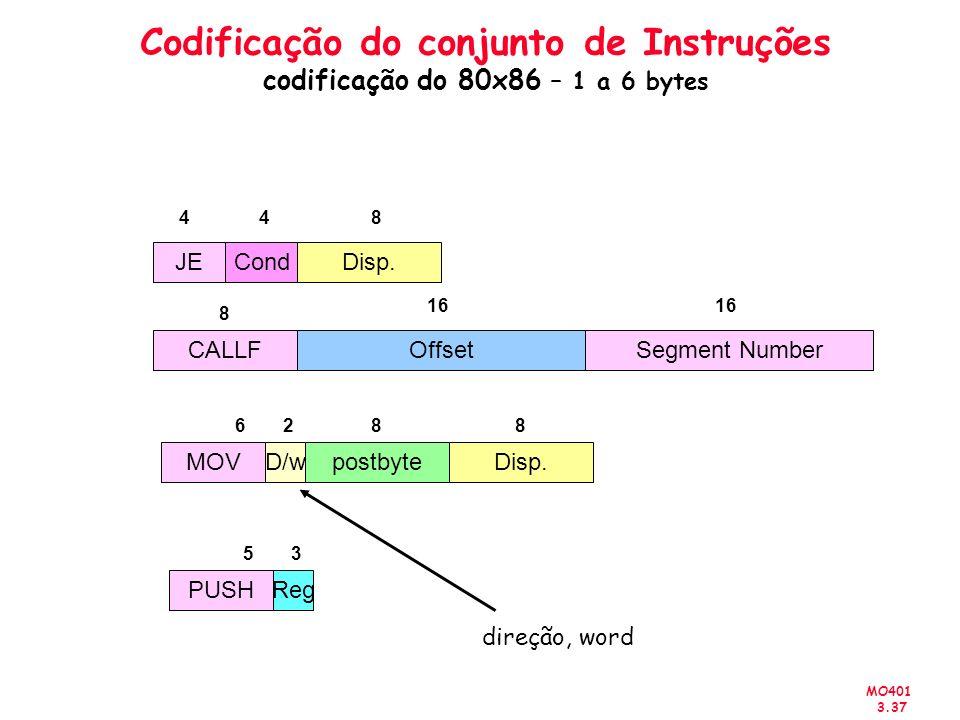 Codificação do conjunto de Instruções codificação do 80x86 – 1 a 6 bytes