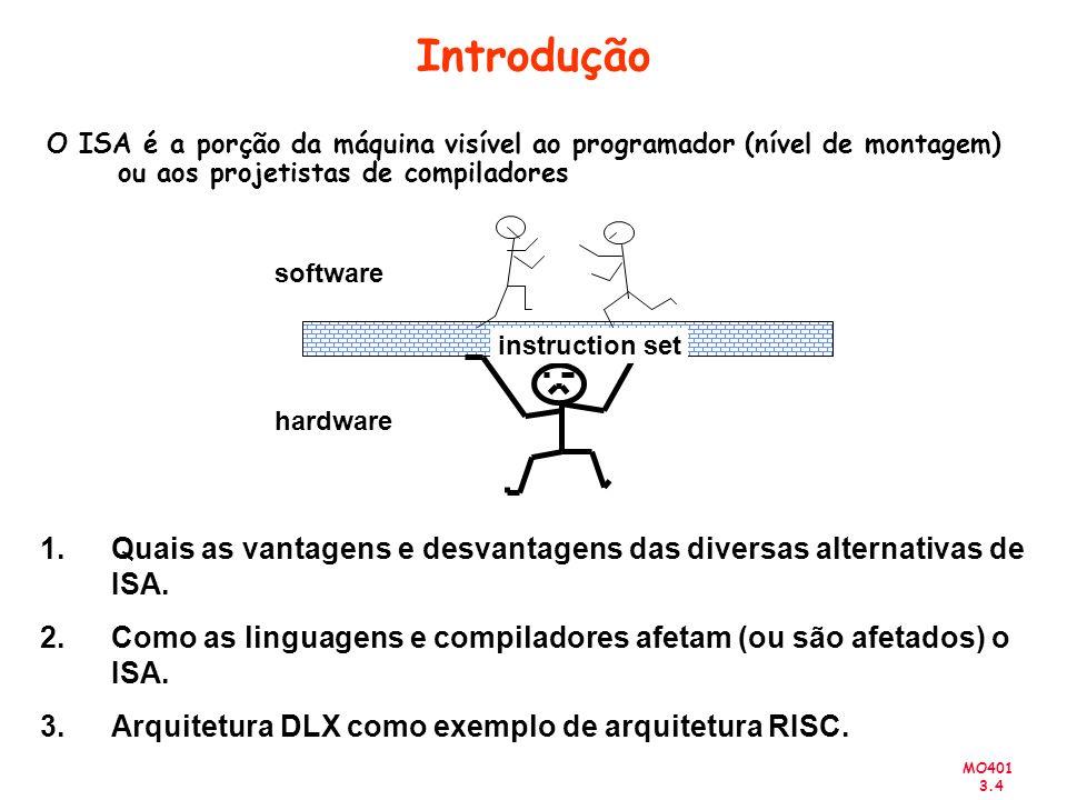 IntroduçãoO ISA é a porção da máquina visível ao programador (nível de montagem) ou aos projetistas de compiladores.