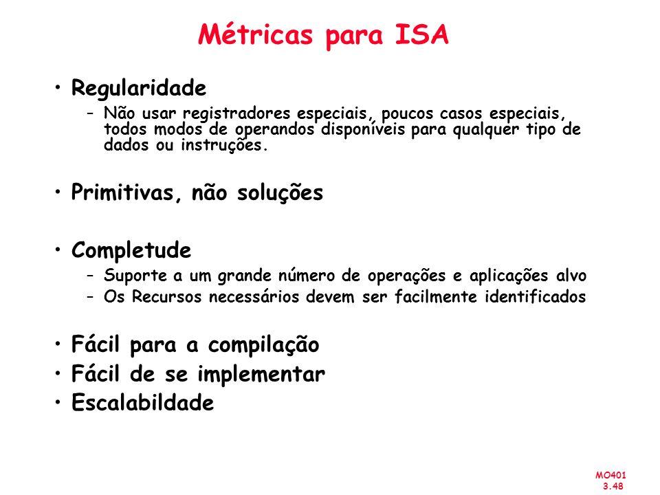Métricas para ISA Regularidade Primitivas, não soluções Completude