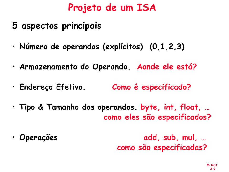 Projeto de um ISA 5 aspectos principais