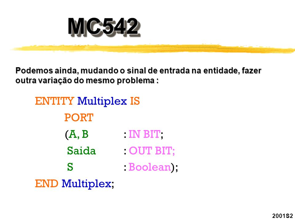 MC542 ENTITY Multiplex IS PORT (A, B : IN BIT; Saida : OUT BIT;