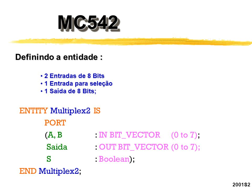 MC542 Definindo a entidade : ENTITY Multiplex2 IS PORT