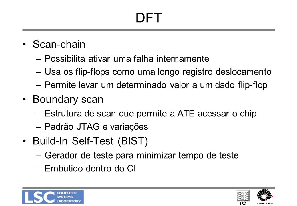 DFT Scan-chain Boundary scan Build-In Self-Test (BIST)
