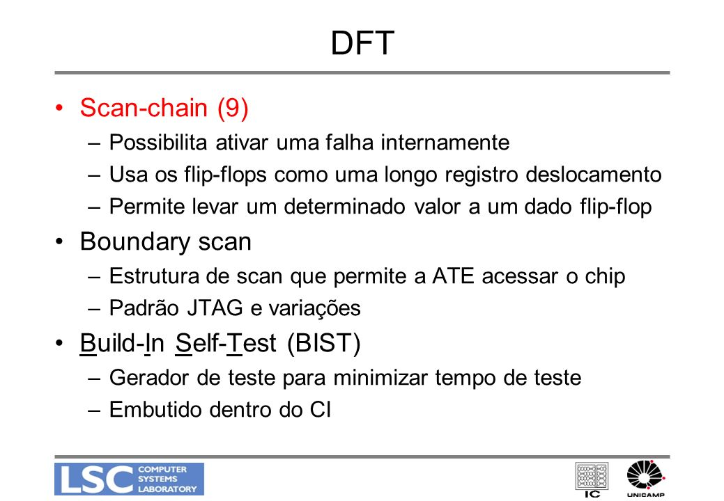 DFT Scan-chain (9) Boundary scan Build-In Self-Test (BIST)