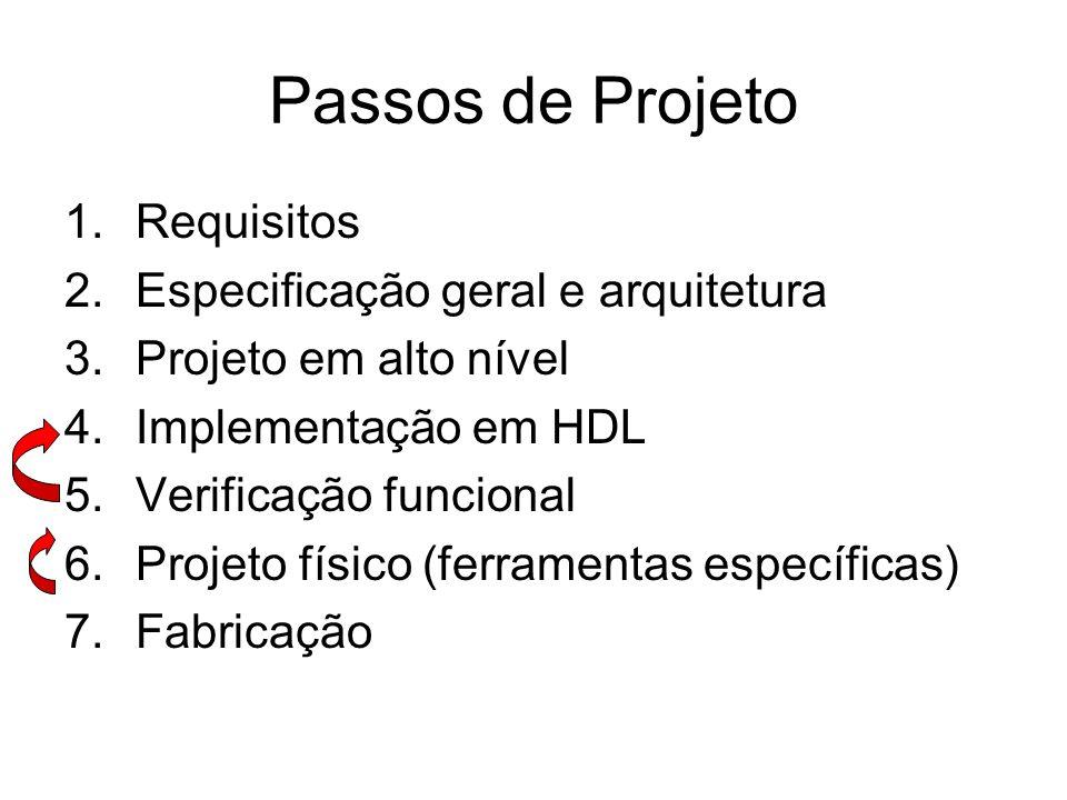 Passos de Projeto Requisitos Especificação geral e arquitetura