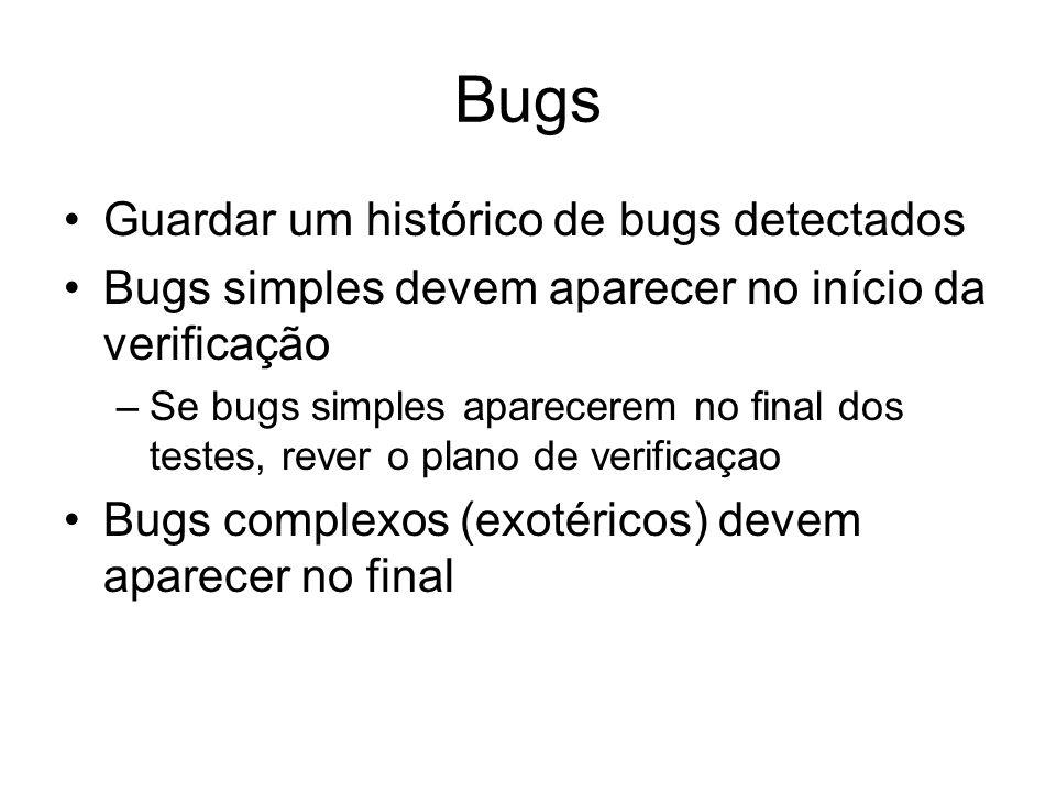 Bugs Guardar um histórico de bugs detectados