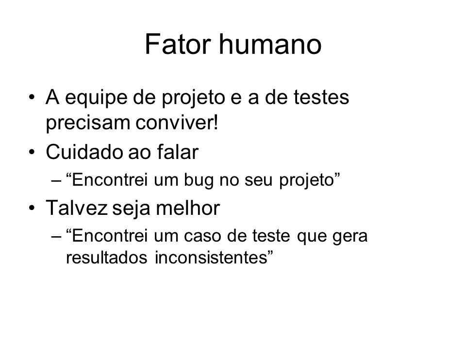 Fator humano A equipe de projeto e a de testes precisam conviver!