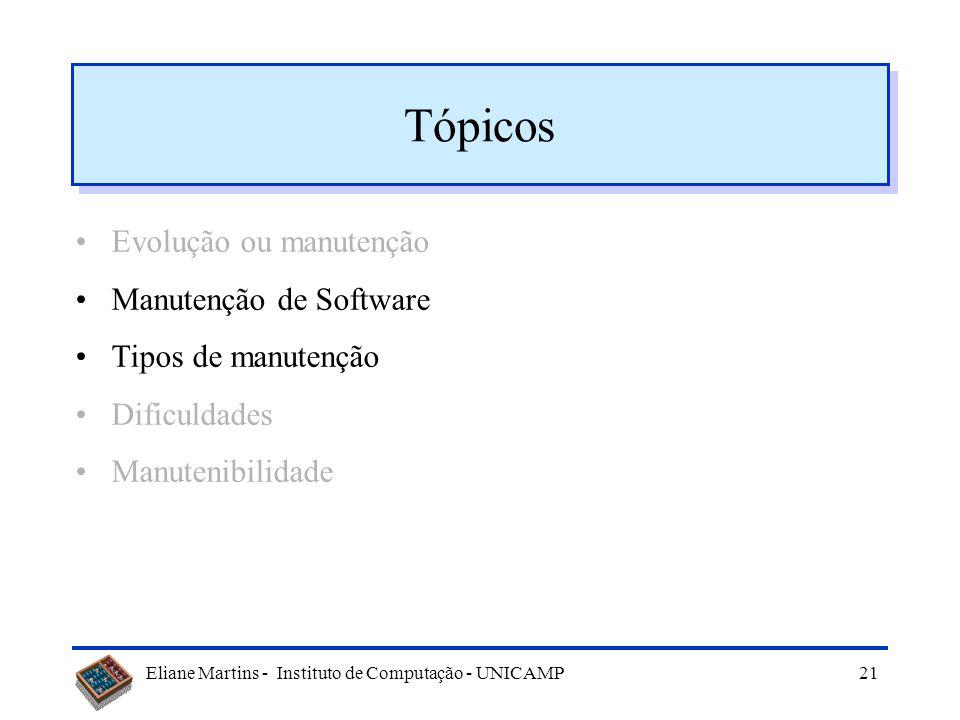 Tópicos Evolução ou manutenção Manutenção de Software