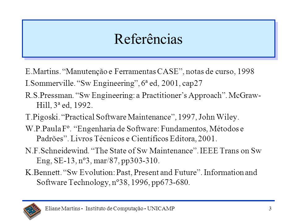 Referências E.Martins. Manutenção e Ferramentas CASE , notas de curso, 1998. I.Sommerville. Sw Engineering , 6ª ed, 2001, cap27.