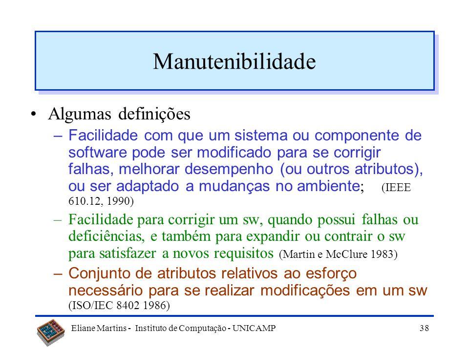 Manutenibilidade Algumas definições