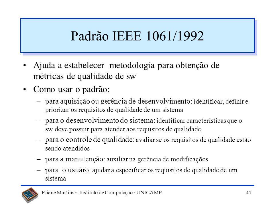 Padrão IEEE 1061/1992 Ajuda a estabelecer metodologia para obtenção de métricas de qualidade de sw.