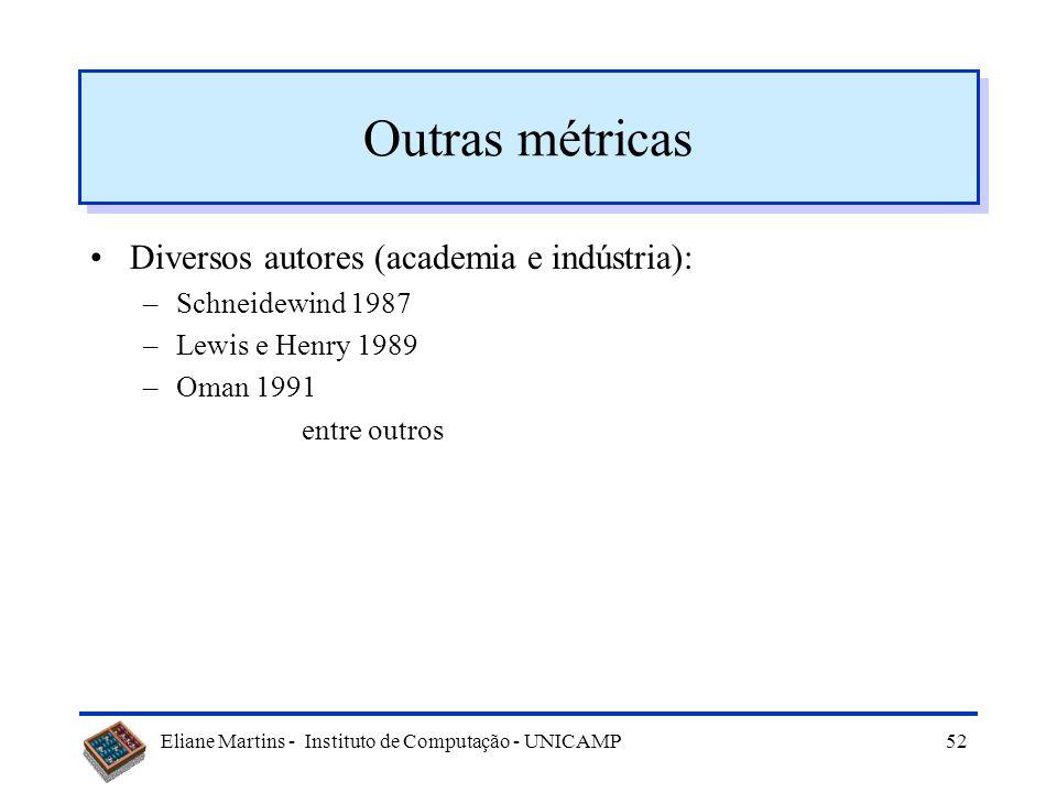 Outras métricas Diversos autores (academia e indústria):