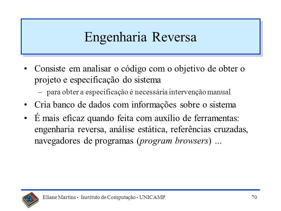 Engenharia Reversa Consiste em analisar o código com o objetivo de obter o projeto e especificação do sistema.