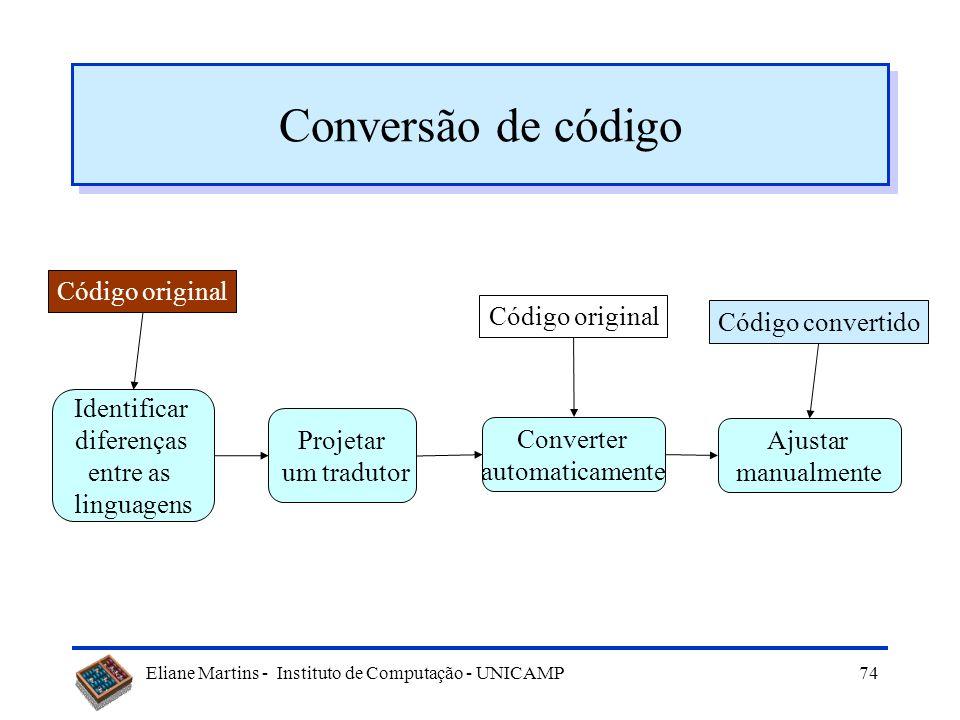 Conversão de código Código original Código original Código convertido