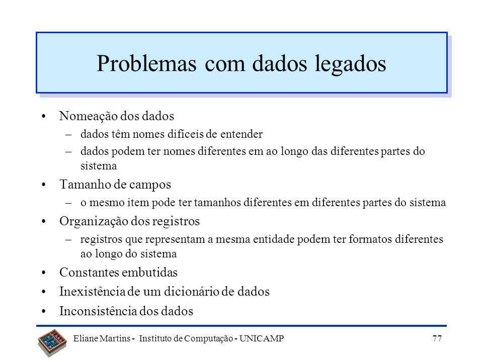 Problemas com dados legados