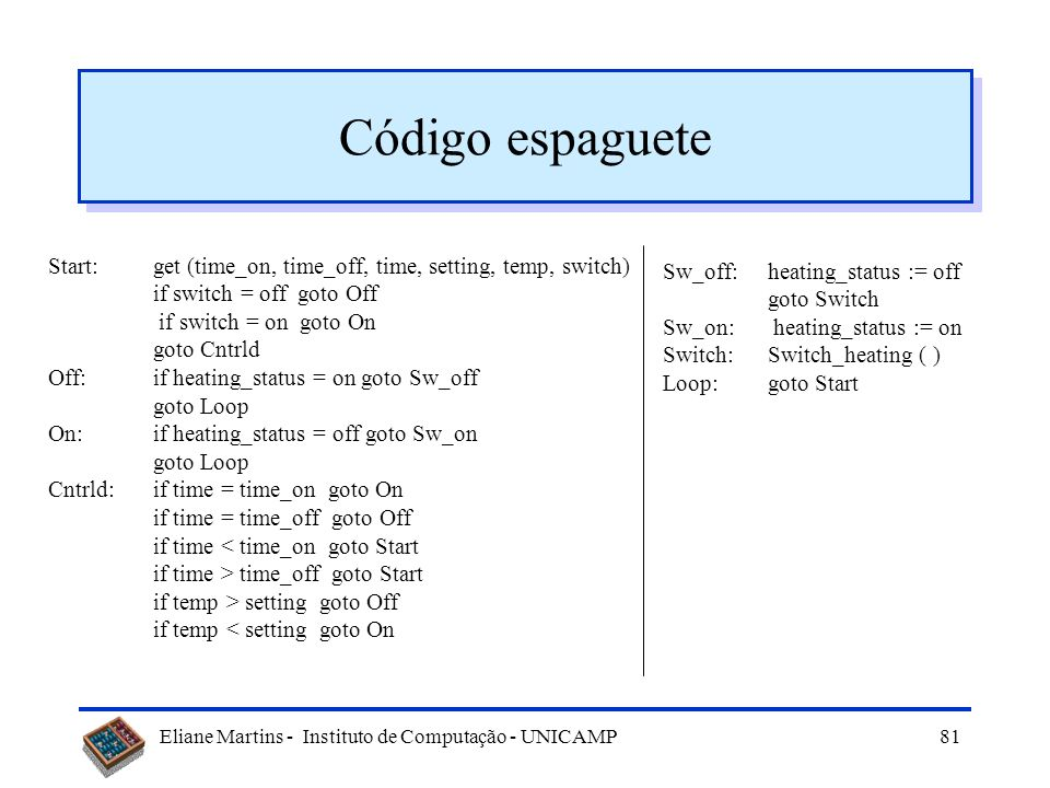 Código espaguete Start: get (time_on, time_off, time, setting, temp, switch) if switch = off goto Off.