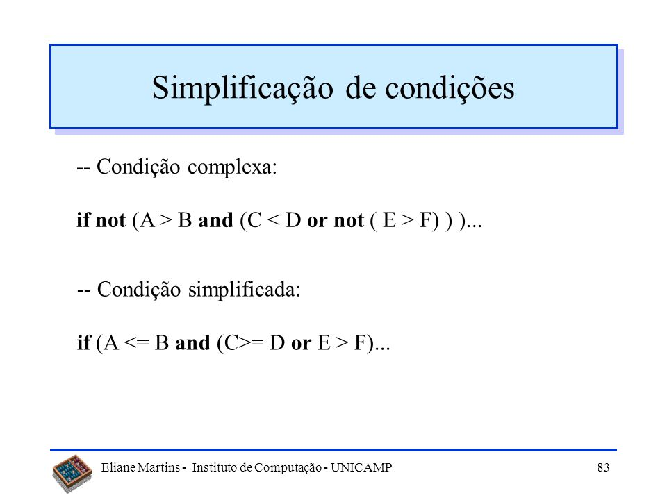 Simplificação de condições