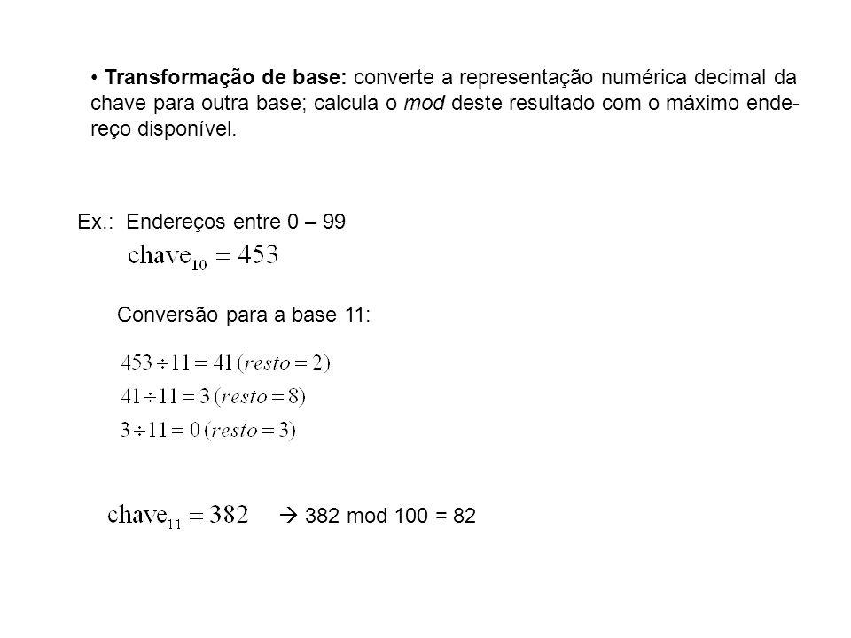 Transformação de base: converte a representação numérica decimal da