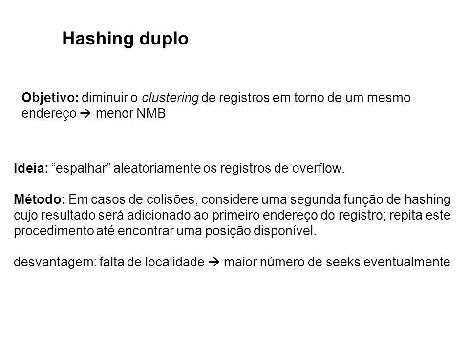 Hashing duplo Objetivo: diminuir o clustering de registros em torno de um mesmo. endereço  menor NMB.
