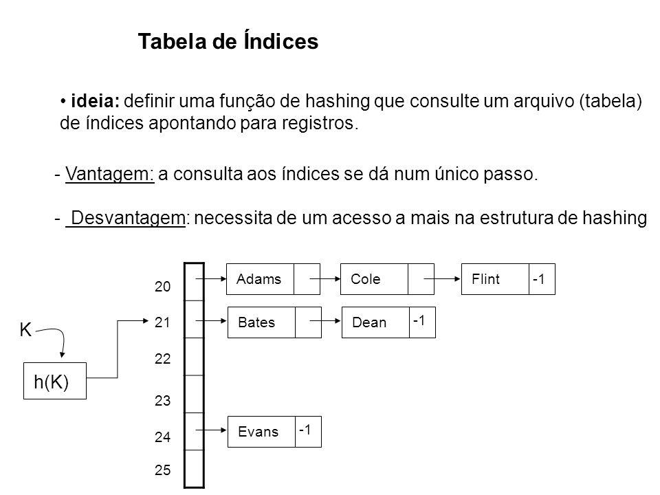 Tabela de Índices ideia: definir uma função de hashing que consulte um arquivo (tabela) de índices apontando para registros.