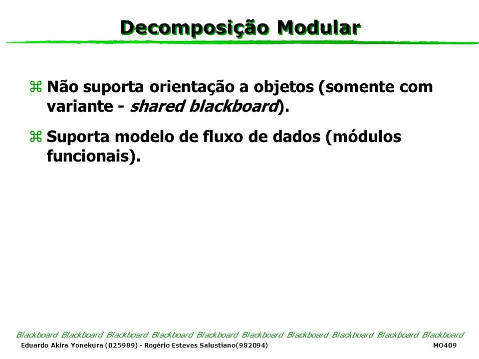 Decomposição Modular Não suporta orientação a objetos (somente com variante - shared blackboard).