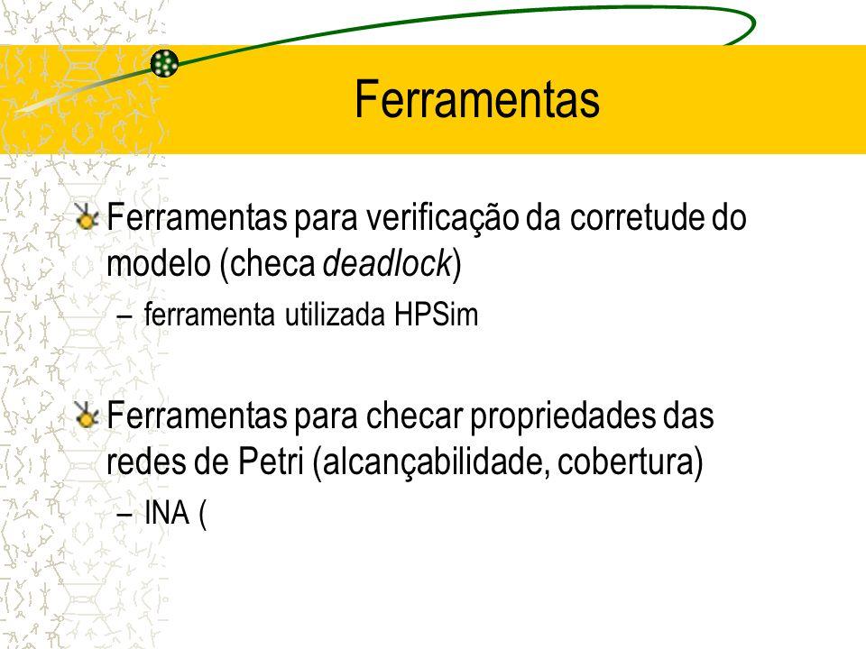 Ferramentas Ferramentas para verificação da corretude do modelo (checa deadlock) ferramenta utilizada HPSim.