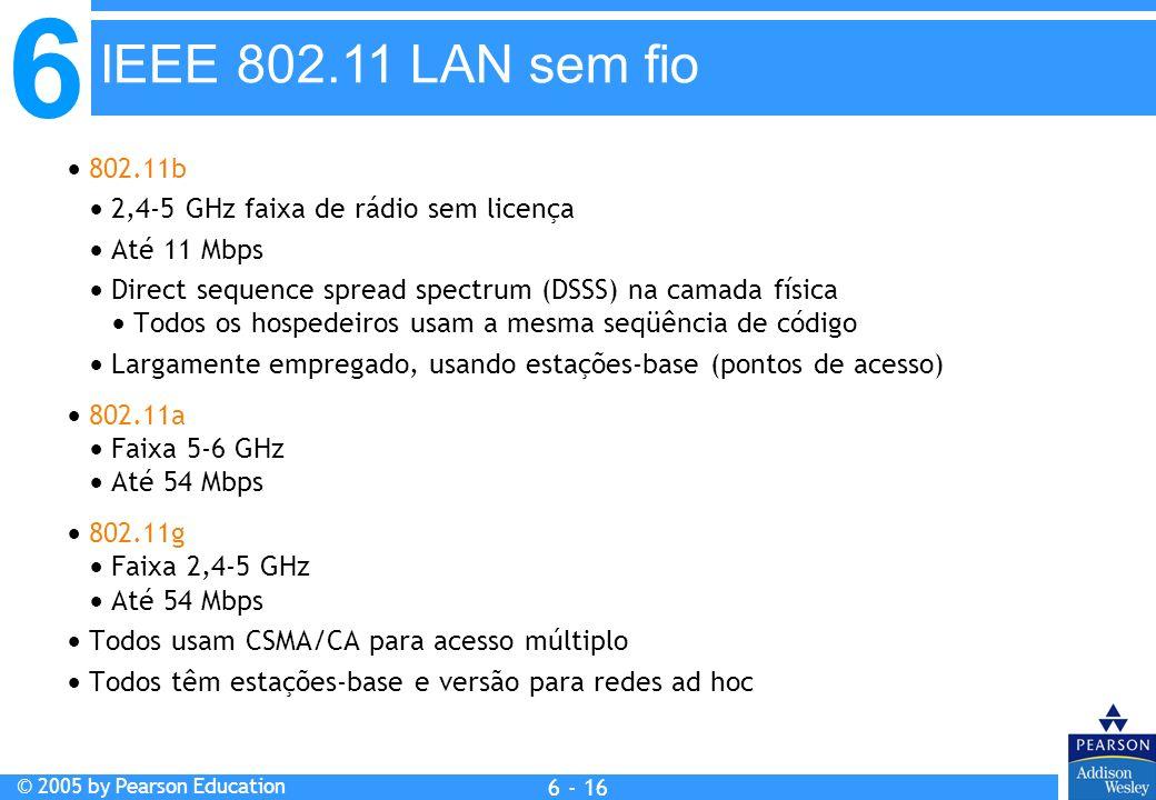 IEEE 802.11 LAN sem fio  802.11b.  2,4-5 GHz faixa de rádio sem licença.  Até 11 Mbps.