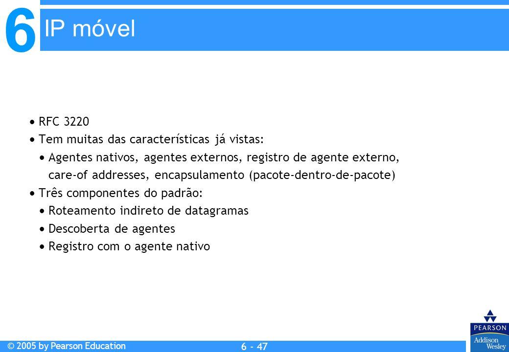 IP móvel  RFC 3220  Tem muitas das características já vistas: