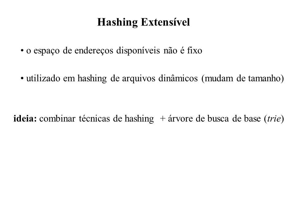 Hashing Extensível o espaço de endereços disponíveis não é fixo