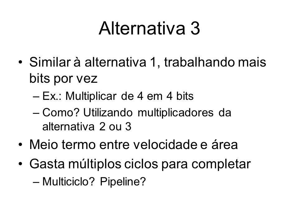 Alternativa 3 Similar à alternativa 1, trabalhando mais bits por vez
