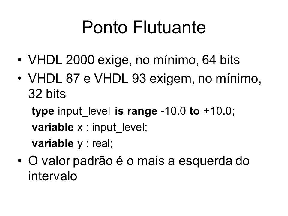 Ponto Flutuante VHDL 2000 exige, no mínimo, 64 bits