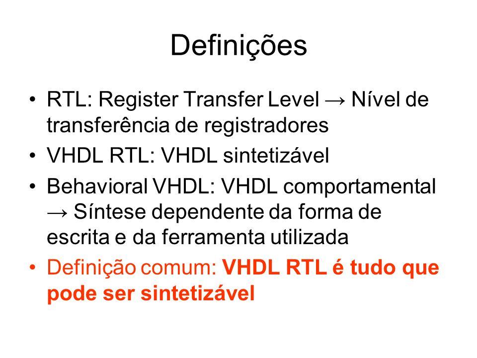 Definições RTL: Register Transfer Level → Nível de transferência de registradores. VHDL RTL: VHDL sintetizável.