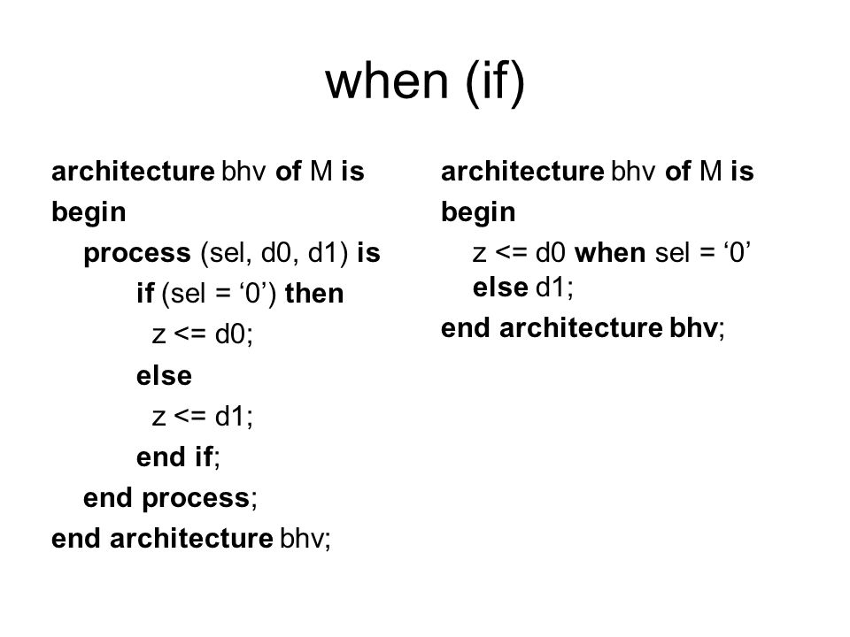 when (if) architecture bhv of M is begin process (sel, d0, d1) is