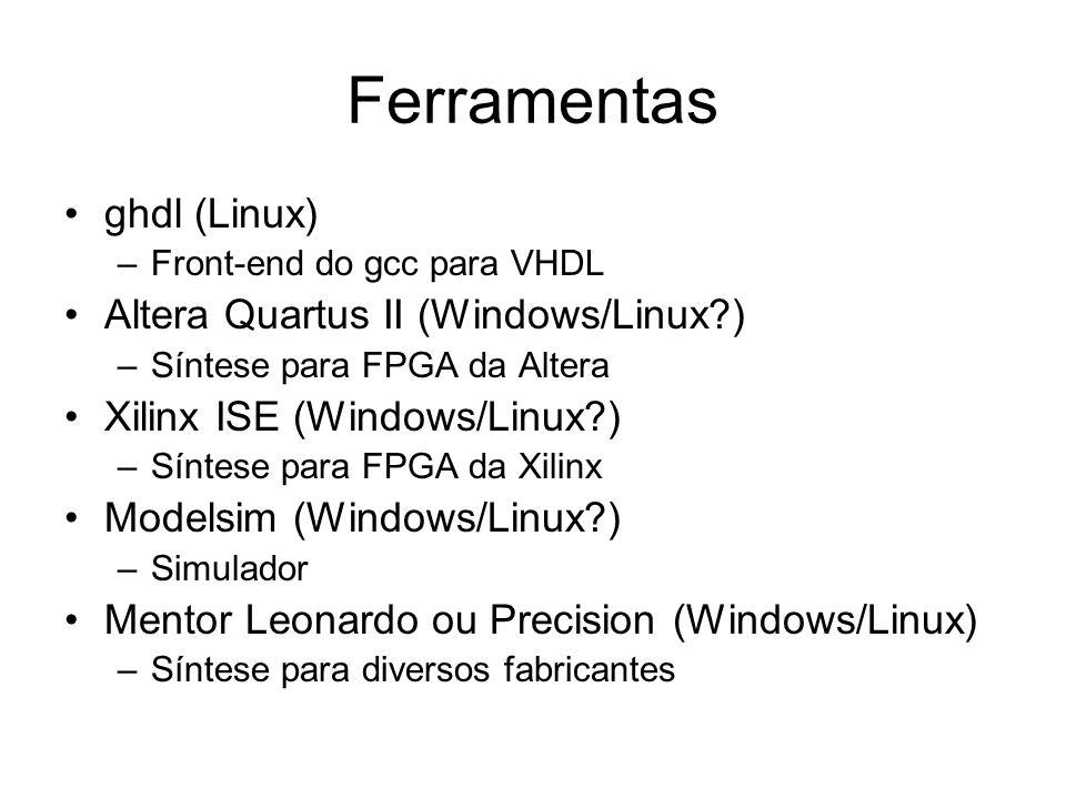 Ferramentas ghdl (Linux) Altera Quartus II (Windows/Linux )