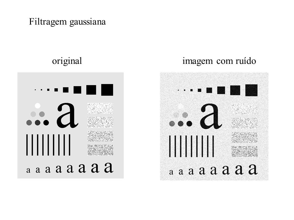 Filtragem gaussiana original imagem com ruído