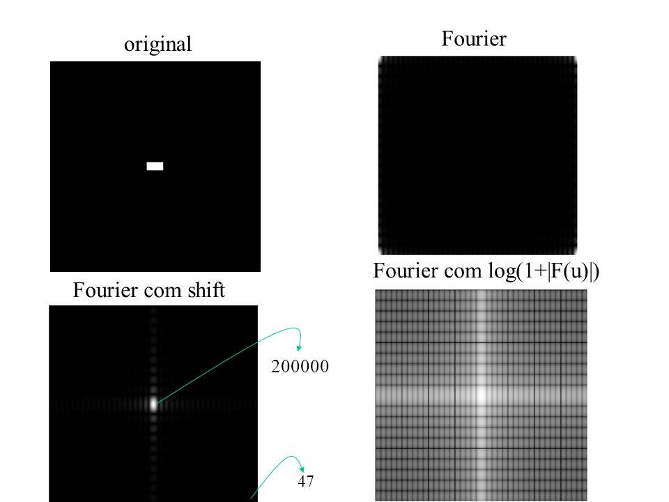 Fourier com log(1+|F(u)|) Fourier com shift