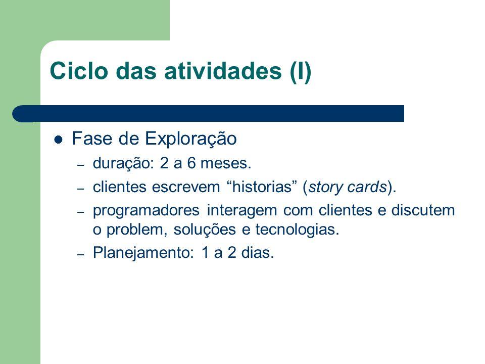 Ciclo das atividades (I)