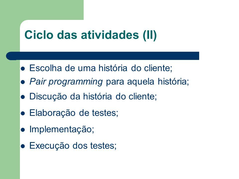 Ciclo das atividades (II)