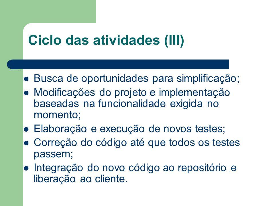 Ciclo das atividades (III)
