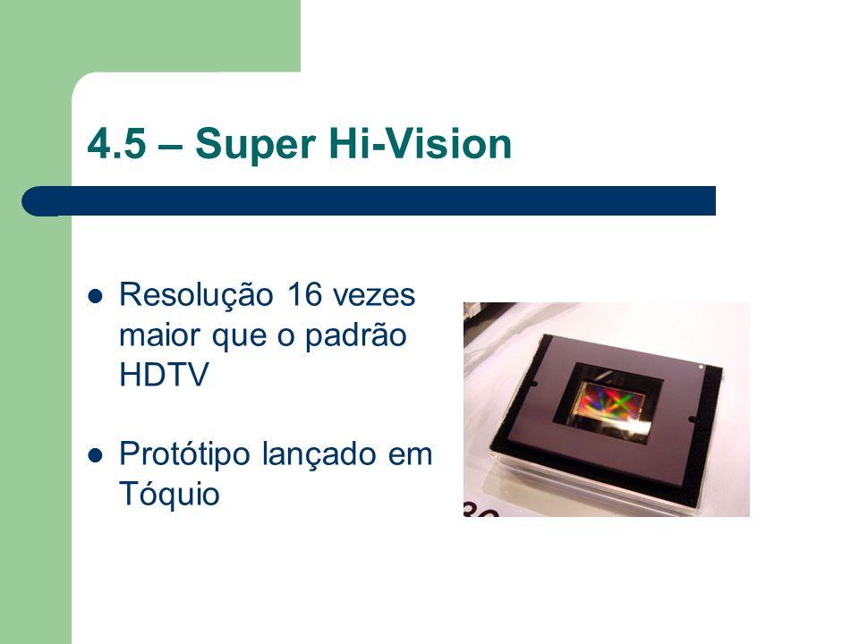 4.5 – Super Hi-Vision Resolução 16 vezes maior que o padrão HDTV