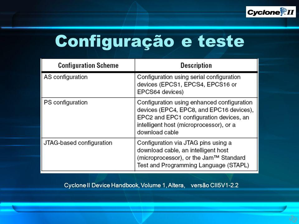 Configuração e teste Tabela mostrando as maneiras de configurar a GPGA. Cyclone II Device Handbook, Volume 1, Altera, versão CII5V1-2.2.