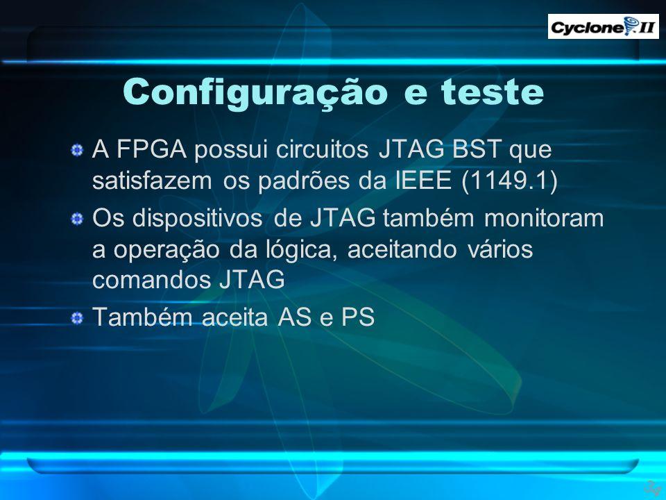 Configuração e teste A FPGA possui circuitos JTAG BST que satisfazem os padrões da IEEE (1149.1)