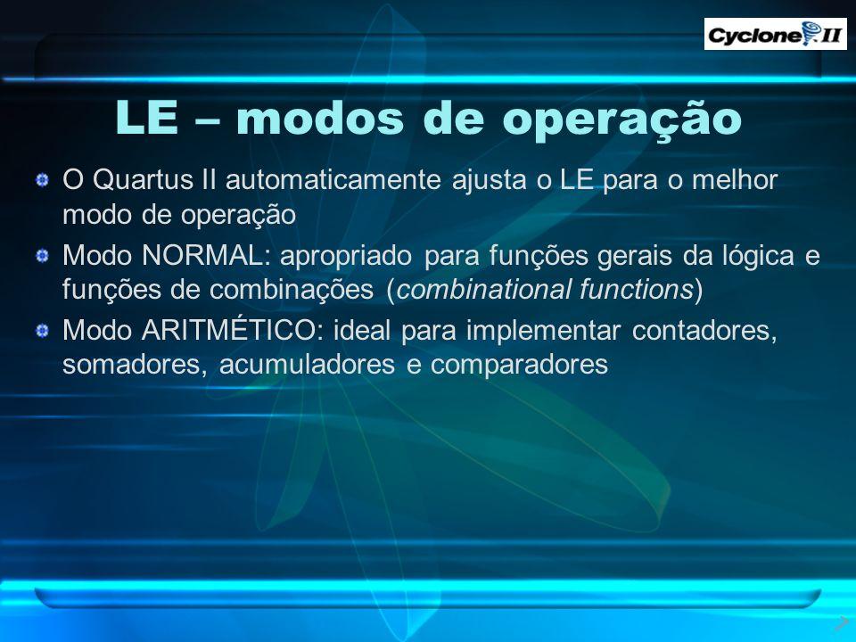 LE – modos de operação O Quartus II automaticamente ajusta o LE para o melhor modo de operação.