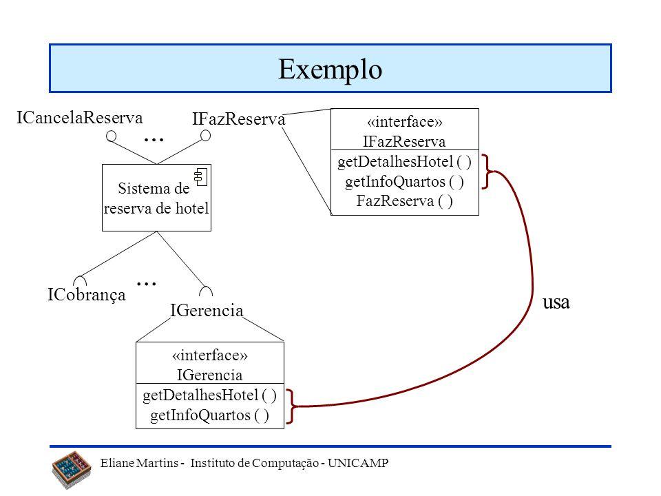 Exemplo ... ... usa ICancelaReserva IFazReserva ICobrança IGerencia
